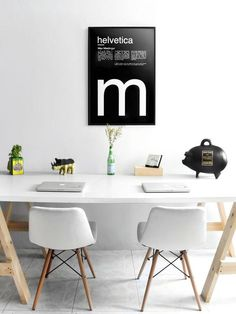 Menta Picante Studio #helvetica #poster #chairs #studio #gold #helvetica poster