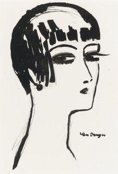 Kees Van Dongen, Short hair (Juffermans L8C) c. 1926 lithograph via Tumblr #white #black #illustration #and #drawing