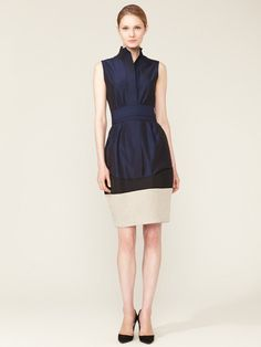 Narciso Rodriguez Cotton Belted Sheath Dress #fashion #blue #dress #sheath