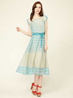Tracy Reese Drawstring Linen Boatneck Frock #fashion #dress #gilt #silk