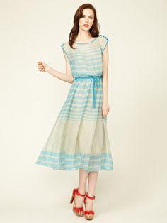 Tracy Reese Drawstring Linen Boatneck Frock #fashion #dress #gilt #silk