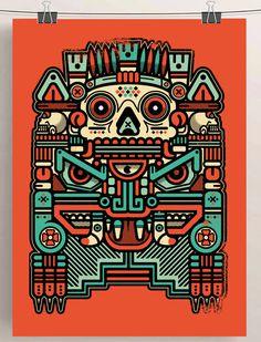 """XOLOTL """"EL ANIMAL"""" on Behance #vector #xolotl #illustration #colors #vintage #art #poster #azteca #skull"""