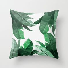 Palm Print Throw Pillow #green #palm #banana #leaf #print #decor #throw #home #floral #pillow #fashion #jungle #leaves