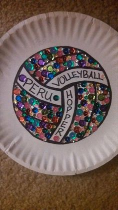 Volleyball Paper Plate #design #makeup #decor #locker #decoration