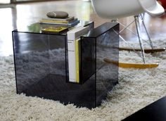"The transparent acrylic side table by Eric Pfeiffer - ""Slot Table"" #acrylic #side #modern #furniture #transparent #table"