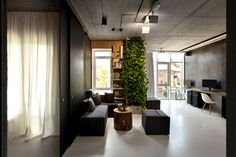 Integrated Green Wall at New Office of Yakusha Design - #office, office design, office space, #interior, interior design