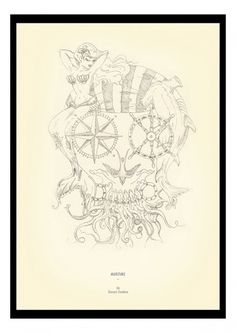 Illustration by Tuscani Cardoso #candy #illustration #tattoos #tuscani #marine #skull #sketch #nautical
