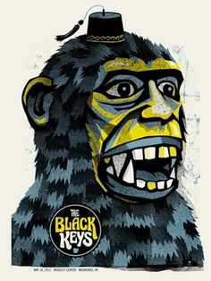 BLACK KEYS- SHRINER GORILLA « Limited Edition Gig Posters « Methane Studios #fez #black #methane #illustration #gorilla #poster #keys
