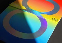 book, holographic, rainbow, type