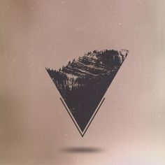 Transcendentalist Art Print #triangle #art #mountains #trees #black and white