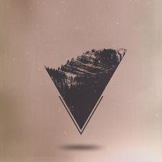 Transcendentalist Art Print #triangle #art #mountains #trees #black and white