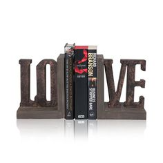"""Polyresin Bookends """"Love"""" Set of 2, 8cm x 19cm"""