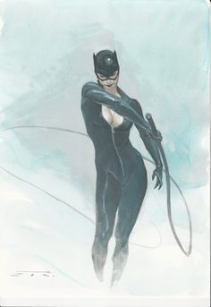 Catwoman by Esad Ribic #sexy #dc #whip #feline #super #catwoman #cat #batman #hero #comic #illustration