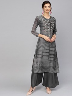Grey Thread Embroidered Palazzo Suit - Inddus.
