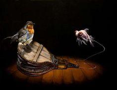 Bird and fish in animal art #surrealism #realism #painting #paintings #art #animal