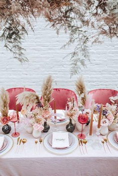 Wedding experts predict that trends in wedding decor 2019 will be hanging floral installations, orange blooms, industrial and bohemian themes.