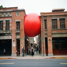 Ball with strobes inside inflated between the trees #architecture #red #ball
