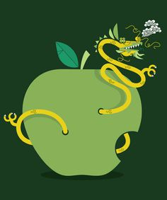 albert + marie #illustration #apple #dragon