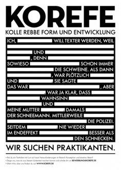 Jobs | KOREFE - Kolle Rebbe Form und Entwicklung - Agentur für Markeninnovation #internship #poster