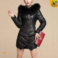 Ladies Down Coat with Fox Fur Collar CW630311