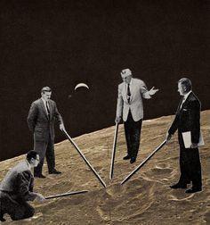 Lunatics, collage, 2010 #moon #collage #vintage #art
