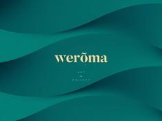 Weroma Art Gallery minimal gold emerald cosmetic branding restaurant elegant simple minimalistic typography wordmark logo