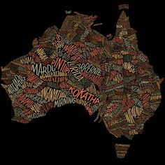 Typeverything.comAustralian Geographic – Custom lettering for a word map showing over 380 Aboriginal tribes and dialects in their respecti #maps