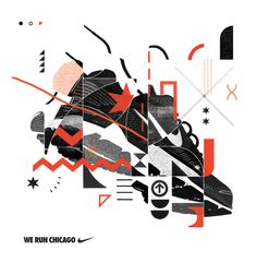 NIKE Chicago Marathon These were some initial design proposals for the Chicago marathon campaign. They did not make the cut. #marathon #nike #chicago #shoe