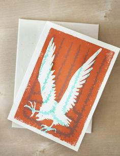 Desert Eagle Blank Greeting Card 45 x 625 by twoarms on Etsy #design #orange #letterpress #eagle #southwest #teal #desert