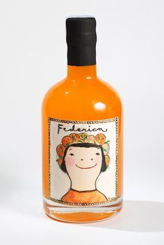 Federica sabe a naranja. #illustration #orange #package #bottle