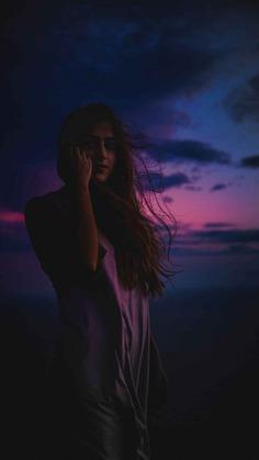 Night Beach Girl iPhone Wallpaper