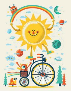 Space face by Tad Carpenter #happy #illustration #poster #sun