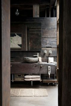 Modern Cabin Living #weathered #rustic #wood #bathroom