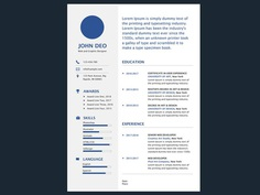 Deo Resume - Free Simple Illustrator Resume Template