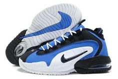 Air Penny 1 Black and White Blue Basketball Men Shoes