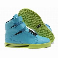 Men's Supra TK Society High Tops Blue Lime Green Footwear #fashion