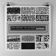 MWM : B/W Typography 2011 Calendar. on Behance #type #calendar