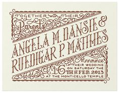 wording Typeverything.comWedding Invitation by Spencer Charles. #lettering #invitation