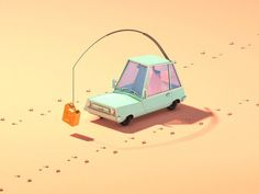 Misha Petrick's Jerry Car #character #animation #isomeric #lowpoly #gif #car