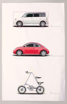 3 ICONIC Elements in Transportation Design #beetle #strida #triangle #square #circle #cion