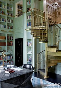 kw-elle-decor2 #staircase #spiral #mint #gold #study #luxury #green