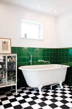 From Scandinavia with love - design & style (Bathroom with black and white floor. Photo from...)