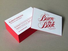 Burn The Book - letterpress business card #business card