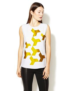 Geometric Applique Silk Top #shapes #geometric #shirt #silk #fashion