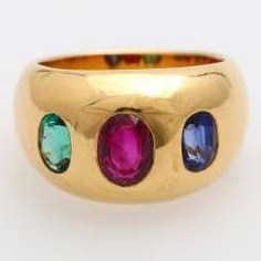 Band ring with sapphire, ruby and emerald