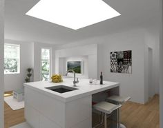 Kitchen island in white interior with minimalist design and abstract painting
