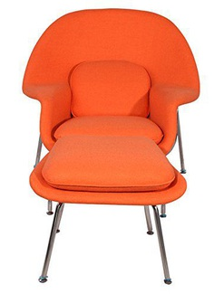Orange Womb Chair Reproduction with Ottoman