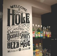 A lettering for a wall in The Hole, a pub in Valladolid (Spain) #calligraphy #lettering #hand #typography