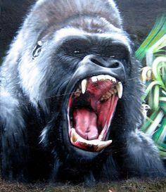 Gorilla in realistic street art