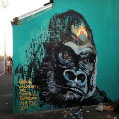 African endangered species street art by Masai #africa #street #art #animals